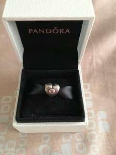 Pandora Heart Charm with Pink Diamond