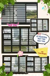 Whatsapp 96477389.Alumin grilles & window for BTO & HDB resale flat.
