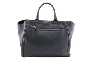 Prada City Calf Leather Double Handle Large Shopping Tote Bag