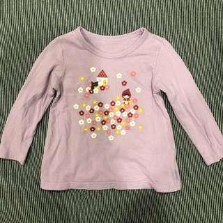 千趣會小女童純棉薄長袖 - 100/粉紫