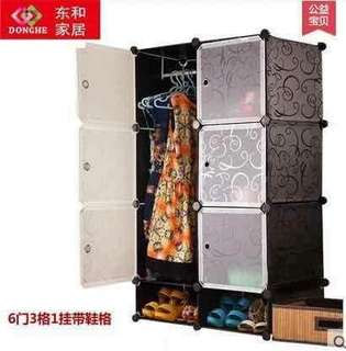 6 cubes DIY cabinet clothes storage w/ shoe rack