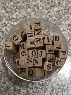 印章 ABC 大寫 字母 木頭印章 26個字母 手作 卡片 認字 兒童 玩具