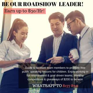 We are hiring talented Roadshow Leaders!