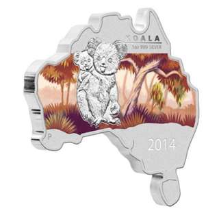 Australia Map Shaped Coin: Koala 2014