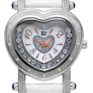 Kc Ladies Heart Quartz White with Gemstones