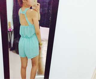 SOUL turquoise sexy back romper
