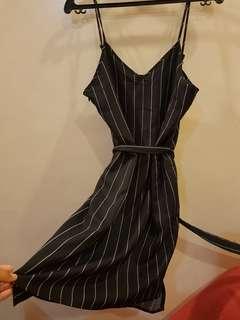 Zalora black stripes dress