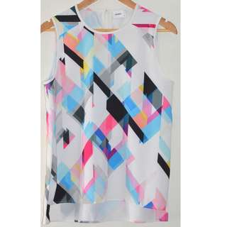 SUBOO MULTICOLOURED FRACTURED GEO PATTERN SHELL SLEEVELESS TOP *NEW* 8 10 12