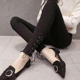 🚚 韓版女裝個性高腰顯瘦綁帶鉛筆褲緊身褲九分褲