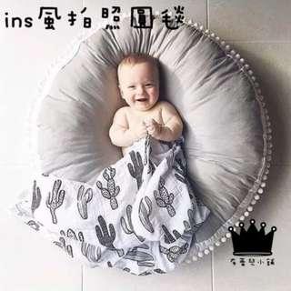 ins北歐風全棉毛球加厚兒童圓形地墊毯寶寶爬行墊兒童房裝飾拍攝道具