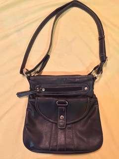 Pre-loved authentic Emillie M. black body bag