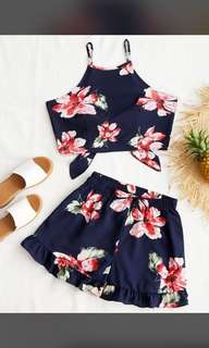 2 piece Floral top with Shorts