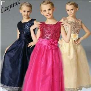 Wedding Dress Girls Princess Shimmering Gown