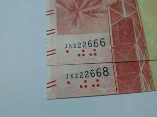 港幣壹佰圓中國銀行2張JX222666&JX222668