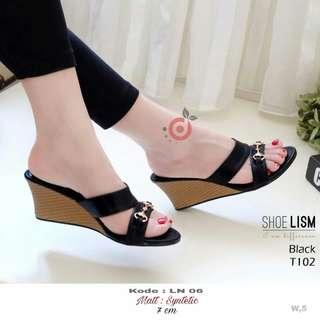 Sandal Wedges Wanita LN 06 hitam