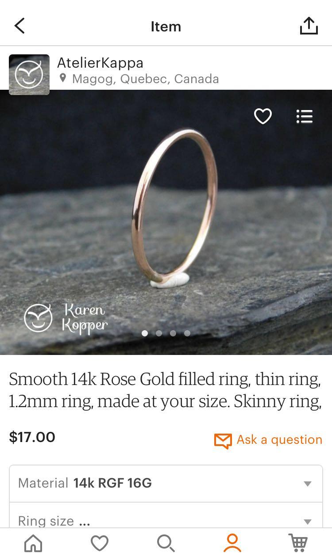 14k Genuine Rose Gold Stacking Rings