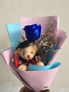 Graduation Bear preserved flower Bouquet