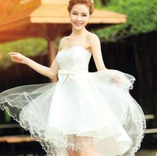 短婚紗 姊妹裙 伴娘裙 抹胸晚禮服 敬酒 白色花邊 White Lace Wedding Dress Gown Bridesmaid 婚後物資