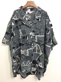 GV 古著 幾何短袖襯衫