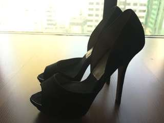 Zara High-heel Asymmetric Peep Toe Shoes in Black