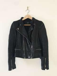 Zara 100% authentic leather biker jacket
