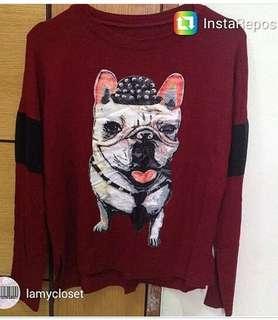 Kaos merah marun doggie