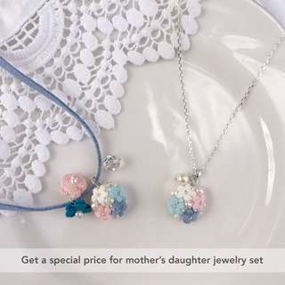 flower crochet pendant charm - Mother's Day gift - gift for her - mother daughter jewelry gift