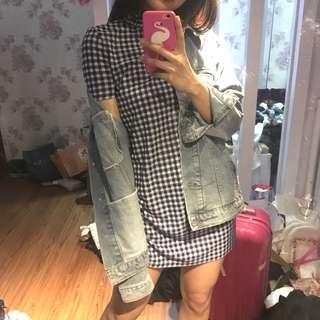 Zara checkered navy turtle neck dress