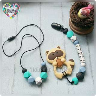 Handmade Mummy Beads necklace & Pacifier Clip with customisation of name + Brown Raccoon teether