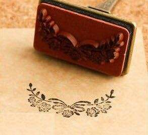 Used Small Rubber Stamp flower border craft