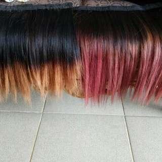 Hairclip rambut asli,, yg kuning 200,, ungu kmerahan 400 klo langsung beli 2 discon jadi 550rb ajh,,free ongkir daerah bandung