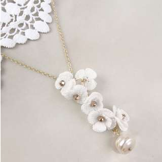 women's necklace with flower charm and Swarovski beads - pearl necklace for Mother's Day gift - gift for mom - gift for her - floral theme jewelry