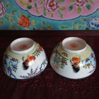 Vintage chicken bowls