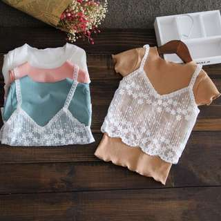 Girls short-sleeved T-shirt lace