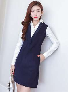 Office: Blue Shirt Collar Long Sleeve Thick Bodycon Dress (S / M / L / XL) - OA/XKD102332