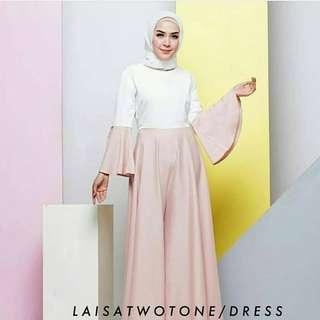 ST - 0318 - Dress Gamis Busana Muslim Wanita Laisa Two One