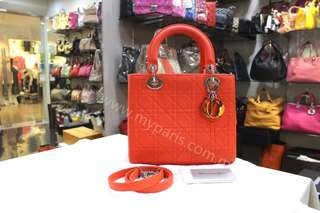 Christian Dior Limited Edition Lady Dior Medium Orange Matte Calfskin
