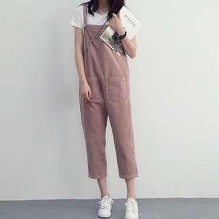 ❗️現貨One Size❗️燈芯絨寬鬆粉紅卡其直筒吊帶褲