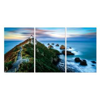 Ocean and Roadpath Acrylic Print 3 Piece