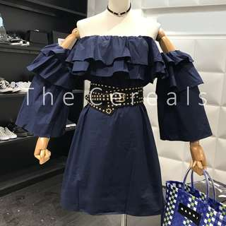 TC2178 Korea Ruffles Shoulder Off Dress (Navy,White)