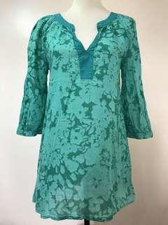 H & M Women's 3/4 Sleeve Blouse Green Plus Size