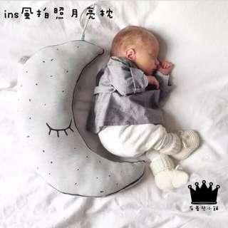 INS爆款北歐會發光的月亮抱枕兒童房遊戲屋軟裝飾物玩具靠墊