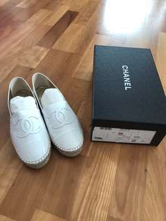 Chanel white patent calf skin leather Espadrilles