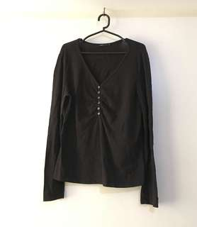 Charity Sale! Authentic Bossini Black Long Sleeve Casual Women's Shirt Top Size XL