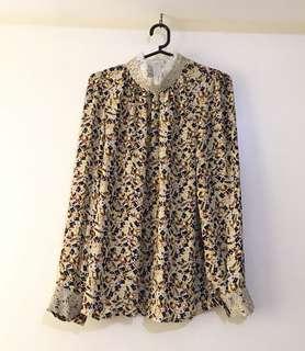 Charity Sale! Authentic Weiwei Boutique Jewel Print Lace Trimmed Vintage Women's Office Blouse Top Size Medium Modest