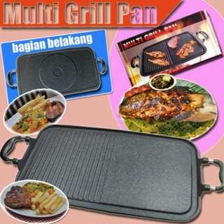 Multi Grill Pan Alat Panggang Praktis Tanpa Arang Bahan Anti Lengket