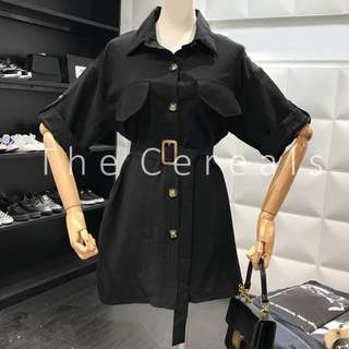 TC2183 Korea Buttons Up Belted Dress (Blue,Black,White,Khakis)