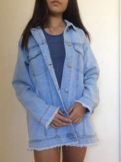 Frayed Light Denim Jacket
