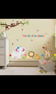 DIY removable wall stickers classroom bedroom children's room cartoon decorative stickers wall stickers wall animal world Home decor