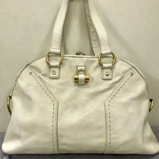 Authentic YSL Muse Ivory Medium Dome Tote Bag